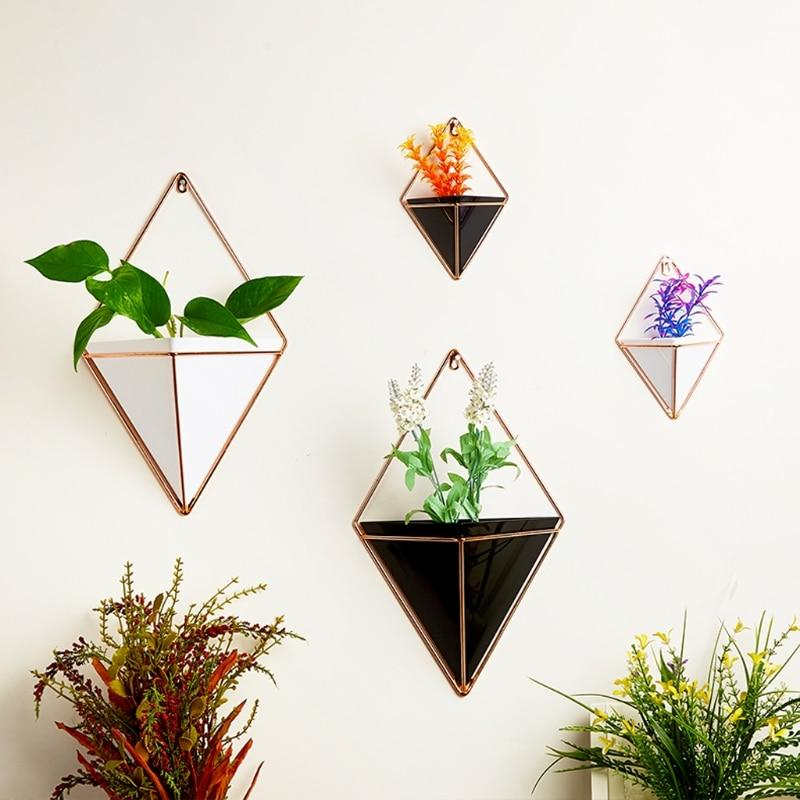 Unique pots for indoor plants and growing succulents: pyramid pot triangular wall hanging planter for succulents or houseplants