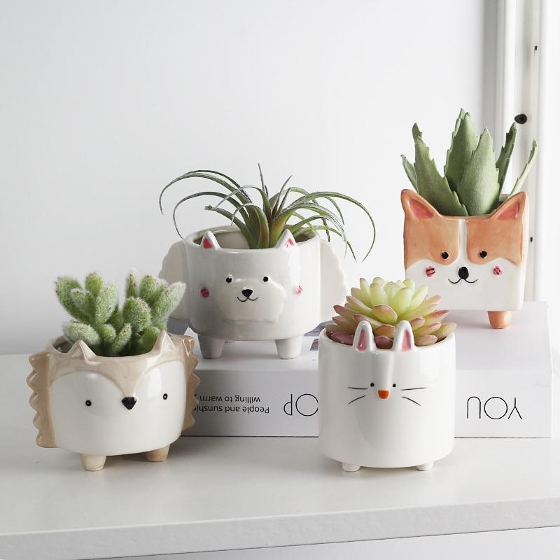 cute pet pots for indoor plans or pet themed pots for succulents: corgi pot, bunny pot, woodland pot