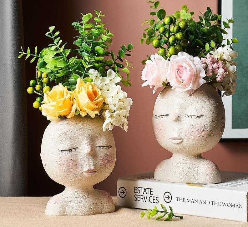 Unique Pots for Indoor Plants & succulents: head planter with face for houseplants